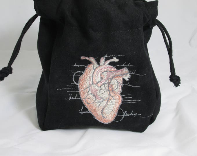 Drawstring Black Suede Anatomical Heart Anatomy Embroidered Dice Bag or Pouch