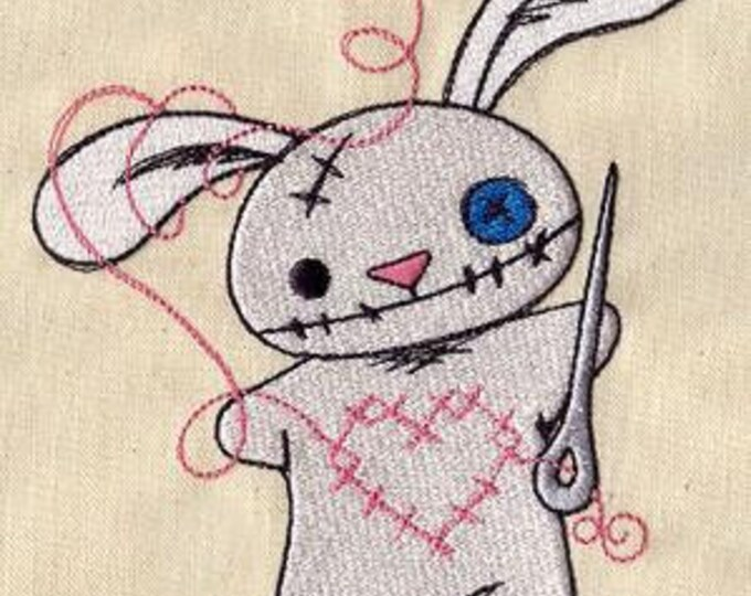 Voodoo Doll Sewing Button Bunny Dice Bag or Pouch