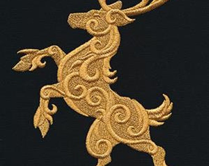 Gilded Royal Gold Deer Stag Drawstring Embroidered Dice Bag or Pouch