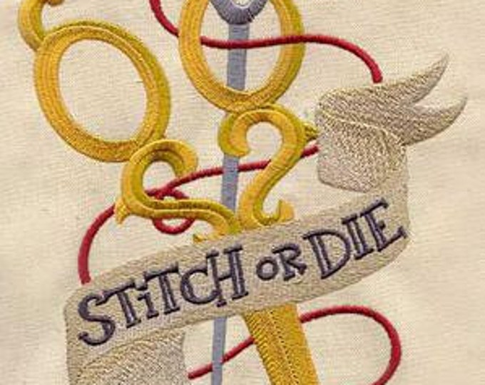 Stitch or Die Sewing Scissors Tattoo Retro Dice Bag or Pouch