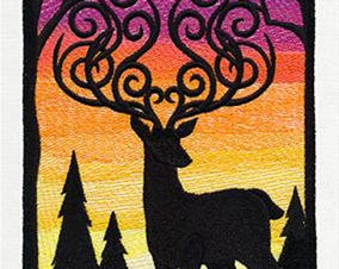 Sunset deer woods silhouette Drawstring Embroidered Dice Bag or Pouch
