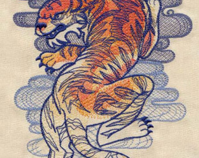 Tattoo Tiger Asian  Drawstring Embroidered Dice Bag or Pouch