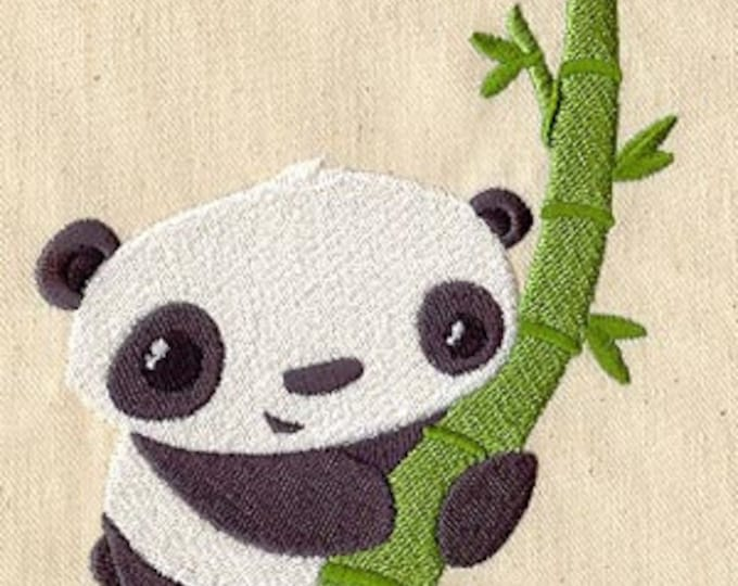 Cute Panda Bamboo Drawstring Embroidered Dice Bag or Pouch