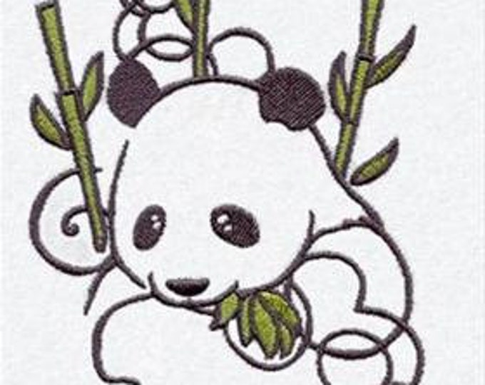 Panda Bamboo  Drawstring Embroidered Dice Bag or Pouch