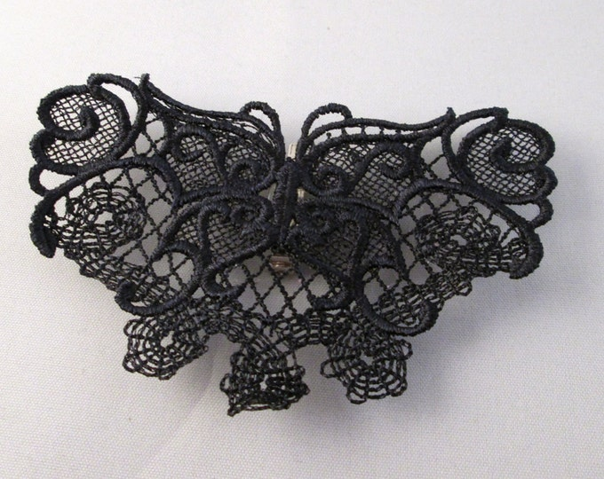 Black lace gothic butterfly pin