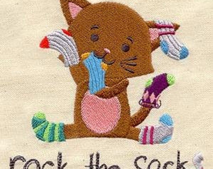 Rock the Socks Sock Cat  Dice Bag or Pouch