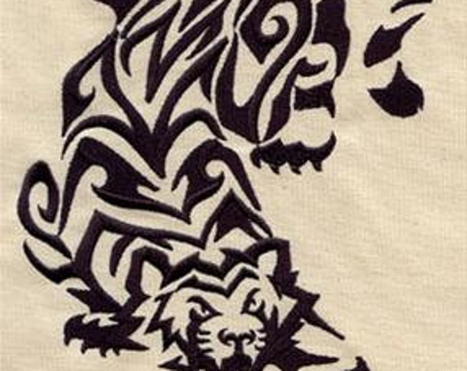 Tribal Tiger Tattoo Drawstring Embroidered Dice Bag or Pouch