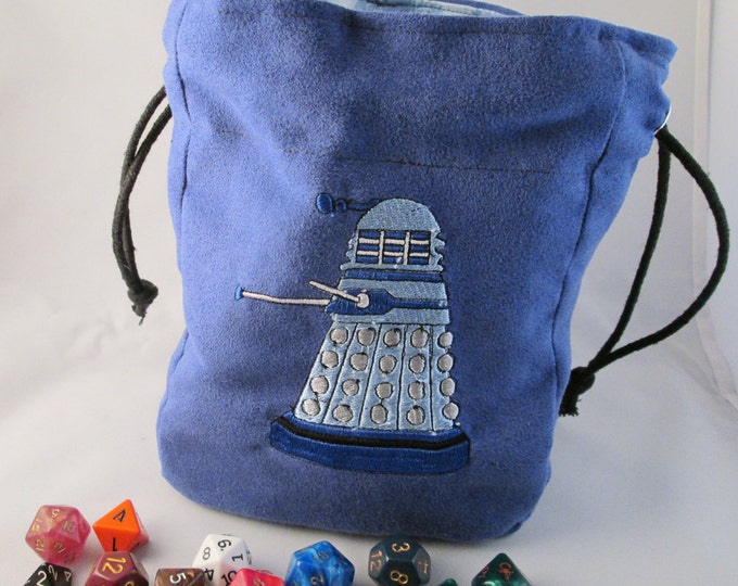 Drawstring Blue Dalek Dr. Who TARDIS Embroidered Dice Bag or Pouch
