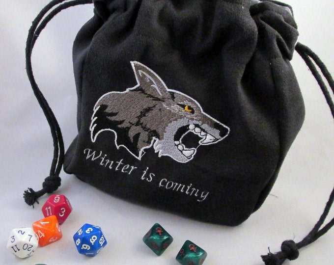 Drawstring Black Stark Game of Thrones Winter is Coming Direwolf wolf Embroidered Dice Bag or Pouch