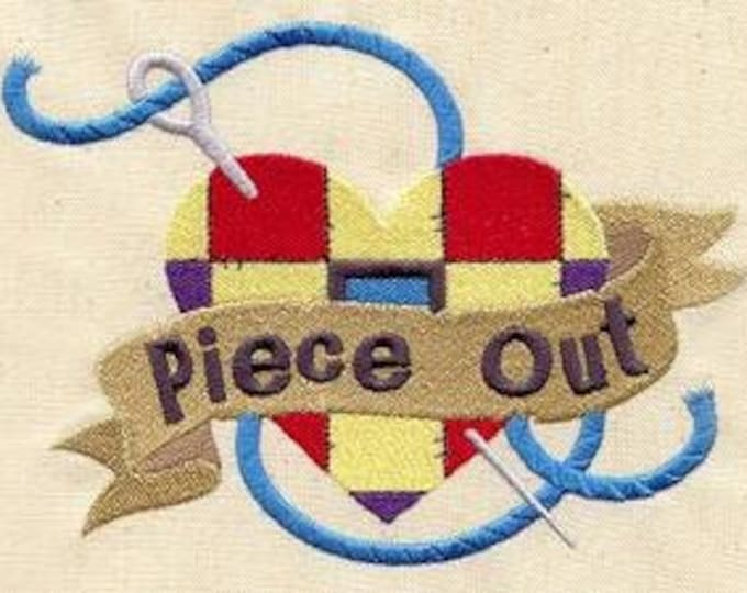 Piece Out Peace Out Quilted Heart Quilting Sewing Dice Bag or Pouch