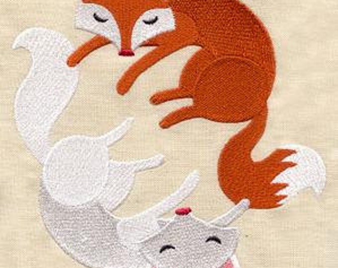 Cute Red Fox White Fox Yin Yang Drawstring Embroidered Dice Bag or Pouch
