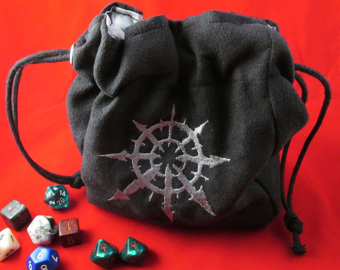 Warhammer 40K Chaos Drawstring Embroidered Dice Bag or Pouch
