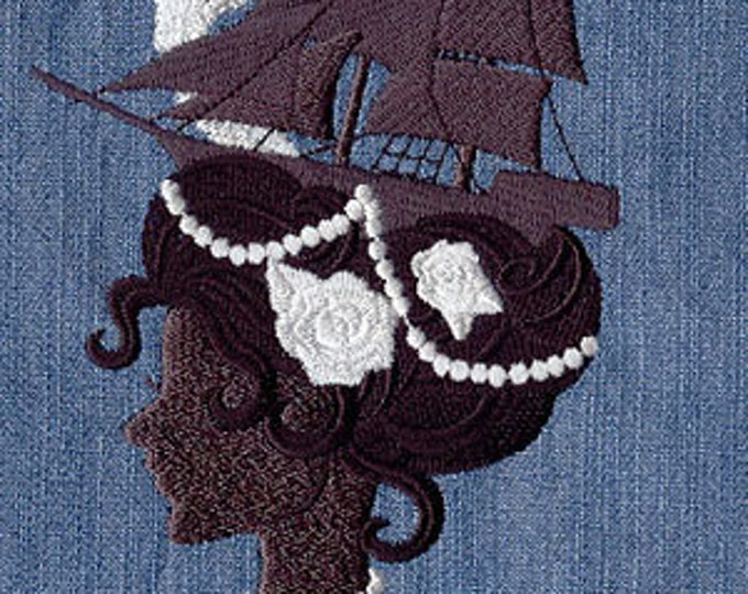 Fancy Lady Hairdo Ship Pearls Drawstring Embroidered Dice Bag or Pouch