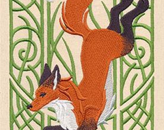 Fox Art nouveau elegant Drawstring Embroidered Dice Bag or Pouch