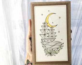 Ship under a cresent moon