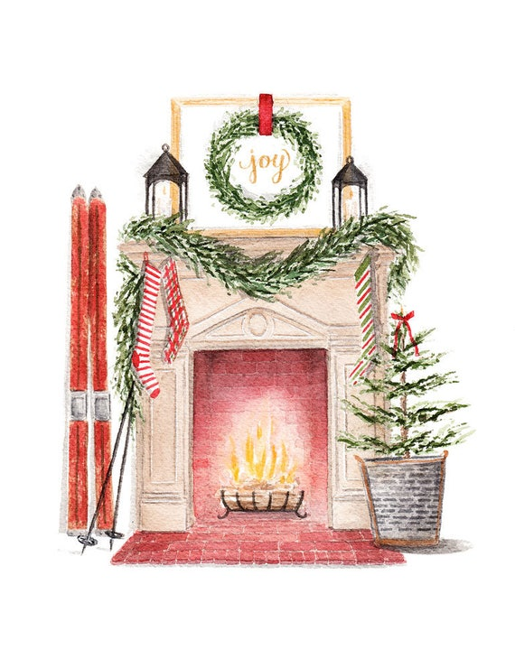 Christmas Fireplace Scene Clipart.Vintage Inspired Christmas Fireplace Scene Fine Art Watercolor Print