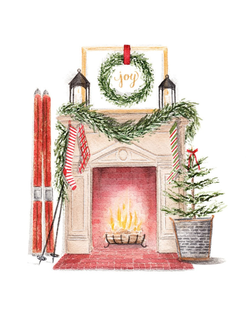 Vintage Inspired Christmas Fireplace Scene Fine Art Watercolor Print