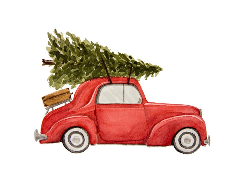 Car Christmas.Vintage Car With Christmas Tree Watercolor Fine Art Print