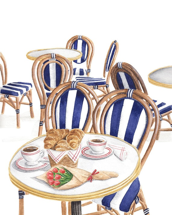 Terrific French Bistro Brunch Watercolor Fine Art Print Blue And White Cafe Alphanode Cool Chair Designs And Ideas Alphanodeonline