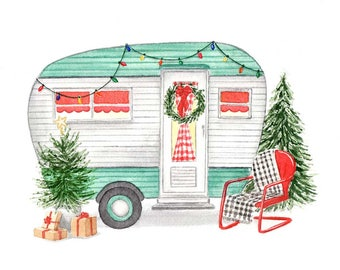 Vintage Turquoise Camper with Christmas Trees Fine Art Watercolor Print