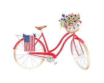 Patriotic Beach Cruiser Bicycle Fine Art Watercolor Print Red White Blue Fourth of July Americana