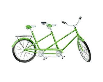 Green Vintage Tandem Bicycle Fine Art Watercolor Print
