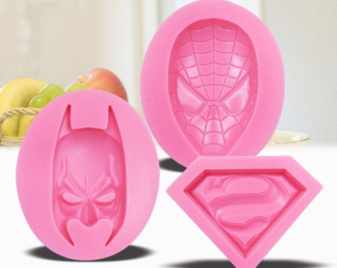 Superhero 3pc Silicone Mold Set - Baking Fondant Soap Chocolate Candy Jelly Batman Superman Spiderman