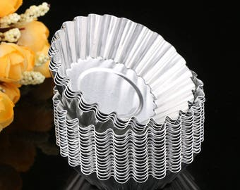 10 pc Tart Tin Egg Custard Aluminum Mold - Fruit Pie Baking Fondant Candy Royal Icing Reusable Cupcake Flower Cake Pie Tin