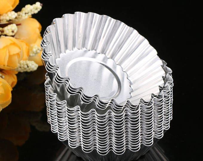 10 pc Tart Tin Egg Custard Aluminum Mold - Fruit Pie Baking Fondant Candy Royal Icing Reusable Cupcake Flower Cake Pie Tin