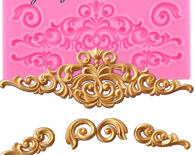 Flourish Scrolls Silicone Mold - CC326 - Baking Fondant Happy Birthday Party