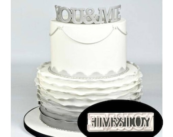 You and Me Wedding Cookie Cutter Set - P061 - Banner Streamer Mold Party Biscuit Gumpaste Fondant Sugarcraft Sugar Cutter