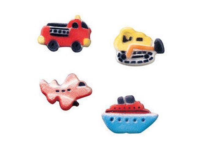 24 Vehicles Assortment Molded Sugar Cake / Cupcake Topper Decorations car boat plane bulldozer dozer airplane