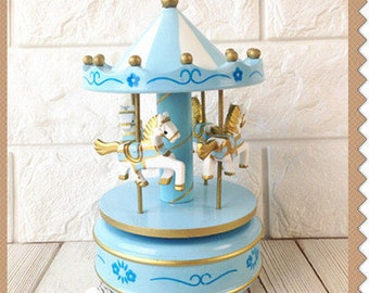 Music Box Carousel BLUE Cake Topper - Birthday Party Merry go round Horse Baby Shower