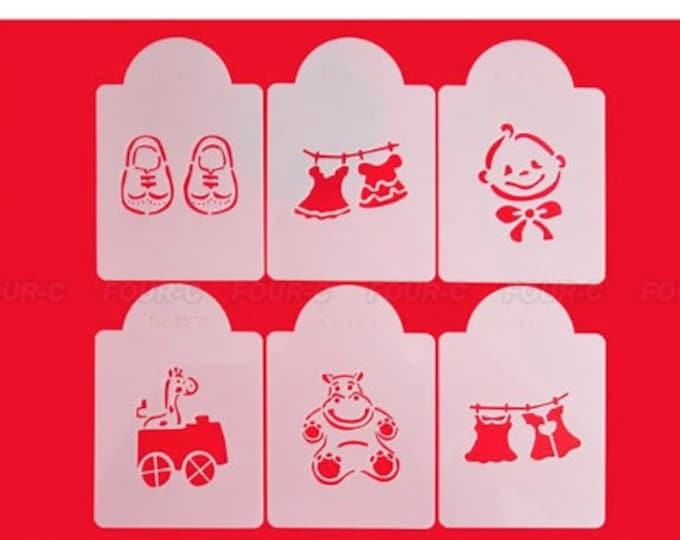 Baby Shower Stencil Set - Cookies Cupcakes & Cakes - 572 - Booty Booties Bear Hippo Dress Onesie Clothesline Car Horse Giraffe Gender Reveal