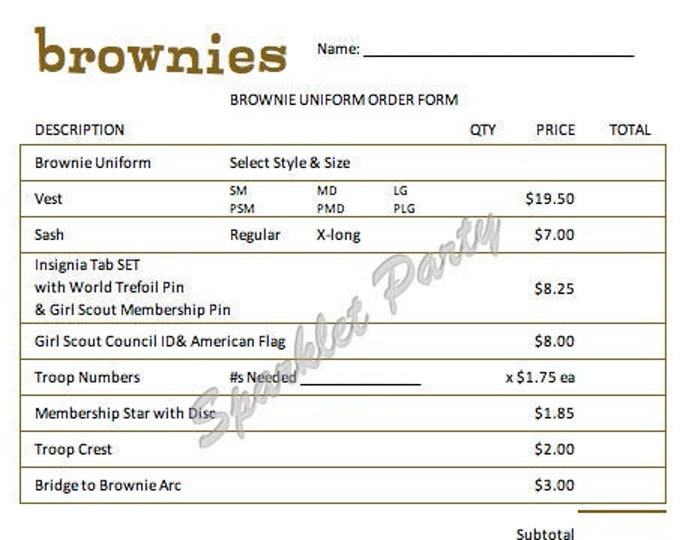 Printable Girl Scout Brownie Uniform Order Form