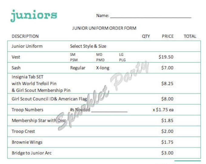 Printable Girl Scout Junior Uniform Order Form
