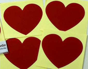 RED Heart Shaped Scratch Off Stickers - Secret Messages Game Scratchies Prizes