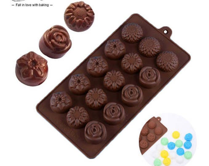 Flower Silicone Chocolate Mold - JSC2064 - Baking Fondant Candy Royal Icing Ice Soap