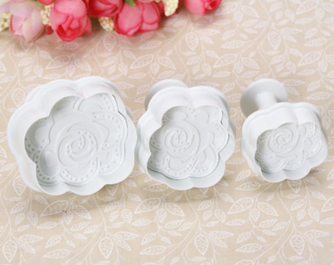Rose 3 pc Flower Cookie Cutter Plunger Mold Set - Candy Fondant Cutter