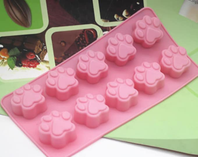 Paws Silicone Mold - B-145 - Dog Cat Paw Puppy Kitten Baking Fondant Candy Royal Icing Soap Chocolate Pets Animal