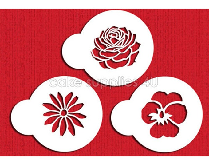 SALE 3 pc Flower Stencil Set - MJ-001 Cookies, Cupcakes & Cakes Design Decorations