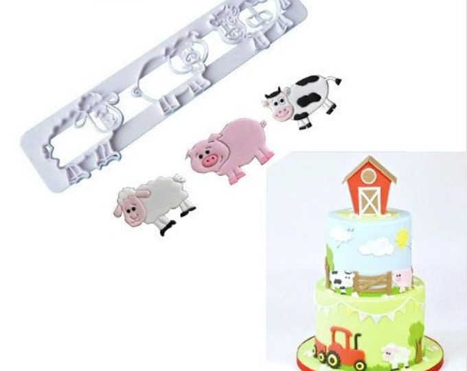 Animal Pig Cow Sheep Cookie Cutter Set - P119- Banner Streamer Mold Party Gumpaste Fondant Sugarcraft Sugar Cutter Lamb Baby Farm Animals