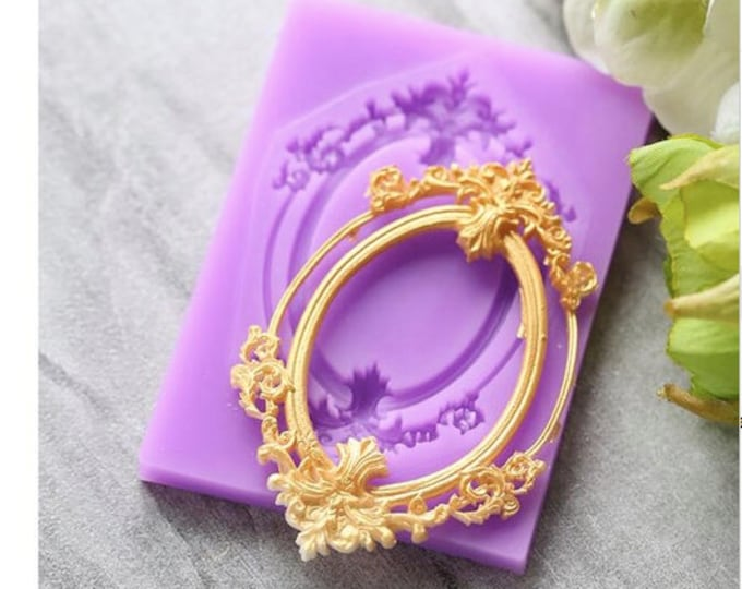 Oval Frame Silicone Mold - X-162 -  Baking Fondant Candy Royal Icing