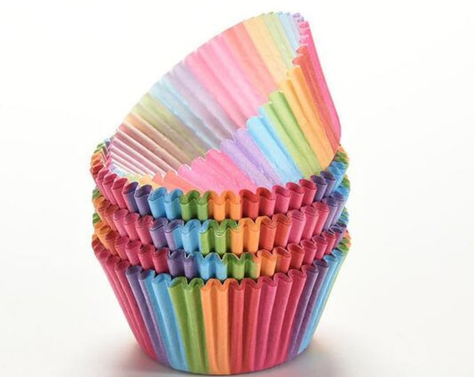100 Rainbow Cupcake Liners, Baking Cups, Greaseproof, Professional Grade