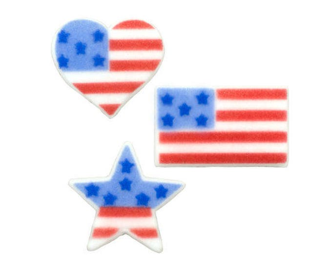 12 American Flag Molded Sugar Cake Cupcake Topper Decorations Ice Cream Heart Star Independence Day Fourth of July