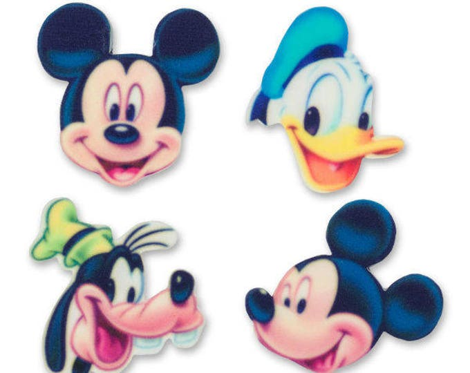 Mickey & Friends 12 pc SUGARSOFT Donald Goofy Edible Printed Decorations - Molded Sugar SugarSoft Cake / Cupcake Topper Decorations