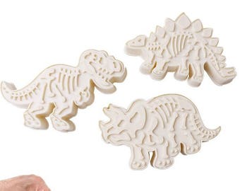 3 ct Dinosaur Cookie Cutter Plunger Mold Set - Stegosaurus Triceratops Tyrannosaurus rex T-rex Candy Fondant Cutter