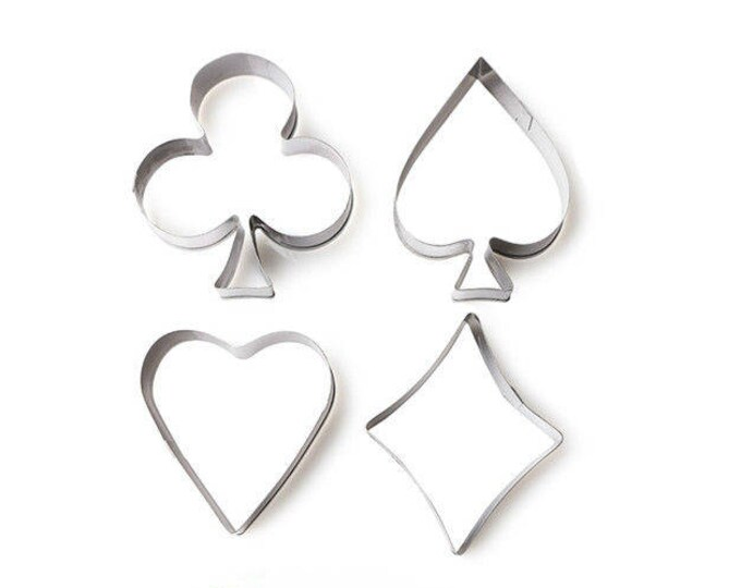 Poker 4 pc Cookie Cutter Set - C-1693 Sweet Love Wedding Mold Party Biscuit Fondant Sugar Cutter Heart Clover Club Spade Diamond Joker