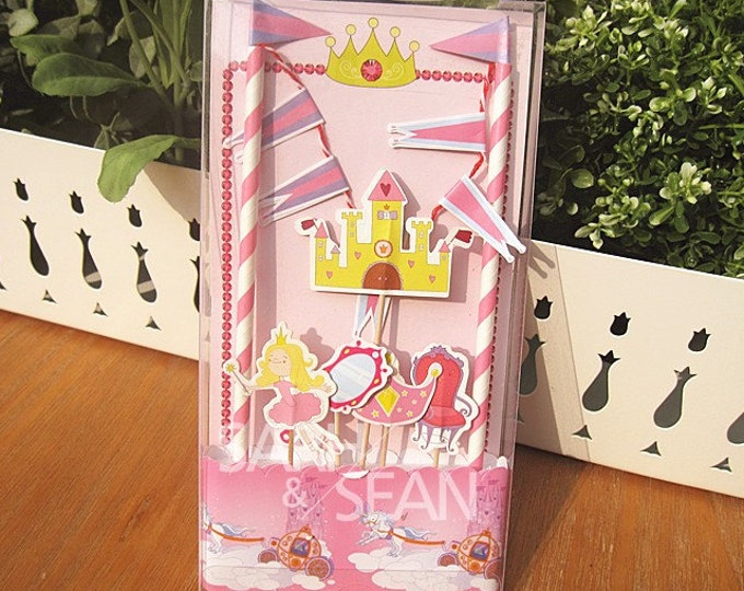 SALE Princess Cake Topper Kit - Includes Cake Wrapper Cake Topper Picks Banner Flag Bunting