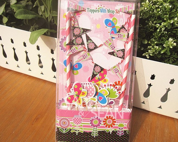 SALE Flower Garden Cake Topper Kit - Includes Cake Wrapper Cake Topper Picks Banner Flag Bunting